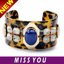 2014 new fashion leopard grain blue gem bracelet for women
