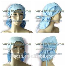 nurse's bouffant style scrub caps, surgery surgeon's caps , blue disposable unisex surgical scrub hats
