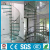 indoor modern laminated glass tread spiral stairs for attic
