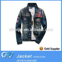 Cotton Tnt Winter Man Denim Jacket Wholesale With Embroider