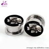 New Hot Design Stainless Steel Fish-Bow With Skull Ear Plugs Tunnel Fashion Body Piercing Jewelry
