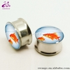 New 2014 Stainless Steel Golden Fish Bowl Ear Plugs Tunnel Fresh Ear Gauges Body Piercing Jewelry