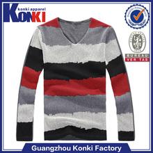 cotton stripe mens long sleeve t shirt v neck for sale