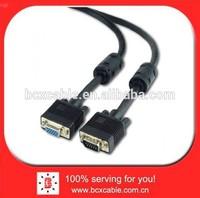 Premium VGA extension HD15M/HD15F dual-shielded w/ 2*ferrite 6ft cable, black color