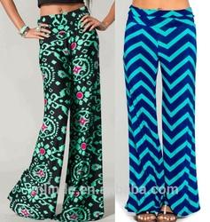 wide leg pants Black Mint printed chevron wide leg pants with fold over waist wide leg pants