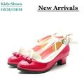 Fabricación 2014 nuevo diseño superventas de cuero rojo de las muchachas de la flor del cordón vestido de los niños zapatos