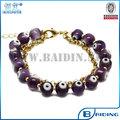 Moda vidro evil eye bead bracelet com uma corrente fornecedor por atacado