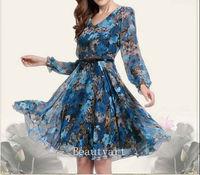 Women 2014 Spring Summer Fashion Elegant Slim Printed Dresses Female Beach Wear
