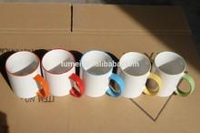 PROMOTION GIFT!!! 11 oz edge color dye sublimation mugs wholesale