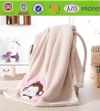 cartoon monkey embroidered design baby /throw/bed sheet /manta /coral&Sherpa fleece blanket