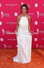 Graceful Halter Formal Gown Super Deal Wavy Layered Halter White Chiffon Celebrity Dress MX016