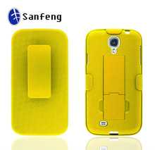 OEM your own logo yellow rubber Shell case for samsung galaxy s4 i9500 cell phone case with kicksatnd &belt clip wholesale