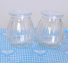200ml clear mini pudding glass bottle with plastic