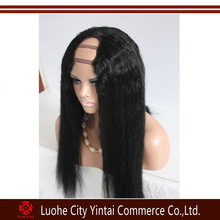 Superior quality middle u parts human hair wigs, 100% unprocessed Malaysian virgin human hair wig