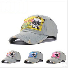 Wholesale Custom Vintage Skull Five-Pointed Star Denim Baseball Hat