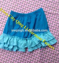 America Design Baby Boy Clothing Soft Cotton Kids Blue Short with Aqua Ruffles Child Trouse