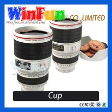Novel Camera Lens Shape Funny Mugs Double Wall With Lid