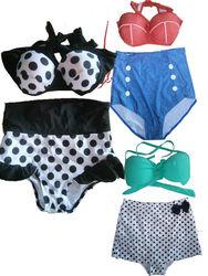 2015 wholesale Polka Dots Blacks Retro 50s Pinup Vintage High Waist Bikini Swimwear UK Size 10