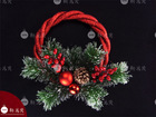 10 inch iced Pine needle Red PE Decorated indoor xmas wreaths 2014