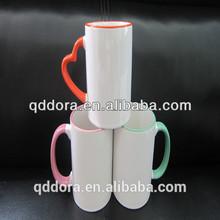 Grade A 11oz color rim White Coated Sublimation Mug Factory/color rim Blank Sublimation Mugs cheap