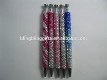 wholesale fashion 13.5cm twist rhinestone promotion pen cute ballpoint pen