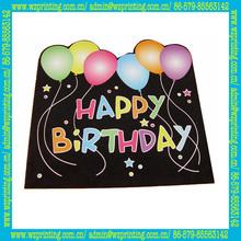 2014 custom high quality flocking happy birthday cards made in China