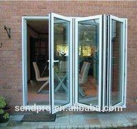 Any color aluminium folding sliding doors transparent glass slide and fold door