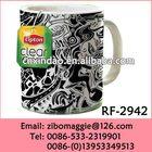 Ceramic Bulk White Coffee Mugs with Lipton Design for Promotion Tableware