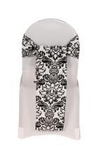 white&black wedding damask flocking chair sash