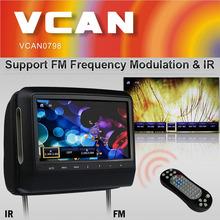 Popluar 9 inch touch screen car headrest monitor with dvd usb sd IR FM 32 bits Game 800 x 480 wholesale