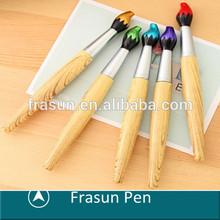 Hot Sale Brush Shape Wood Grain Plastic Ballpoint Custom Design Pen
