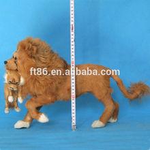alive size Life-like Handmade soft lion Animal plush plastic material