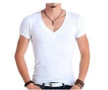 high quality fashion V-neck super soft 100% cotton plain with mern bulk blank custom t shirt manufatures