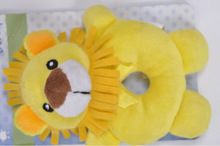 Yellow small lion Babys Ring Rattle Soft Toy Gift Idea