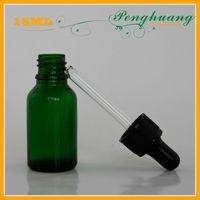 glass dropper bottle,green essential oil bottle,mini glass green bottle