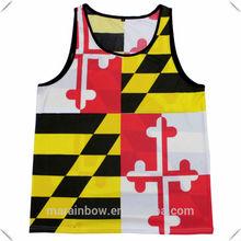 High quality cheap price Designer Maryland Flag stringer tank top single Jersey singlets custom made