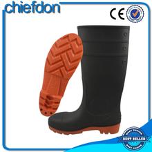 cheap unique black mature rain boot with red sole