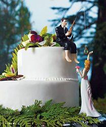 Funny Hooked on Love Fishing Groom & Bride Wedding Cake Topper Figurine Cake Top