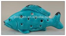 Hollow Blue Ceramic Sea Fish,Ceramic Fish Decoration,Ceramic