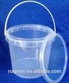 Nova chegada 2.5 litros redonda transparente comestível plástico balde com tampa e alça