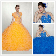 New 2014 Off Shoulder Beaded Yellow Royal Blue Organza Ball Gown Ruffles Quinceanera Dresses Pictures ZYC0501