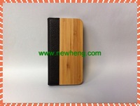 2013 Classical bamboo+ PU+PC Customized Mobile Case for iPhone5