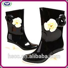 China Manufacturer High Fashion Ladies Rain Boots Black High Heels