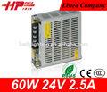 Small-size CE RoHS factory price constant voltage single output AC DC 3.3V 5V 12V 36V 2.5A 60W LED power source 24v