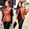lady pu leather jacket sleeves removable fashion design, lady leather jacket