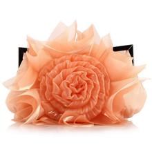 D14215A 2014 EUROPEAN ROSE FLOWER SATIN WOMEN DINNER BAG