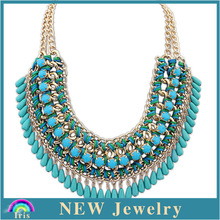 2014 new turquoise bead necklace Hot selling Russia style Canada necklace PN3006