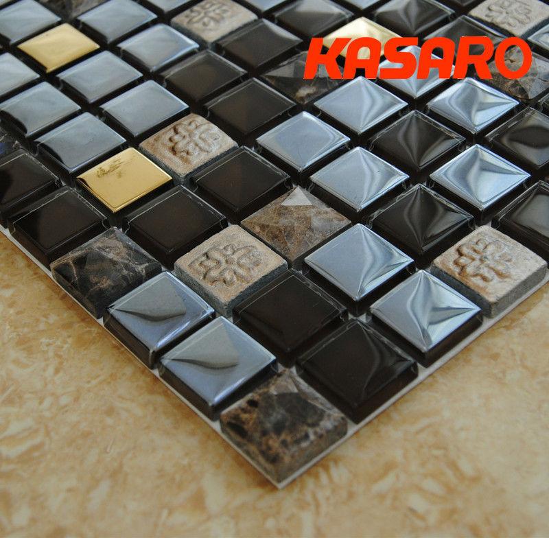 新しいホットアート3d大理石のモザイクミックスのガラスプレート、 ガラスミックスの大理石のモザイク、 ky-zr201334001ガラスモザイクプレート