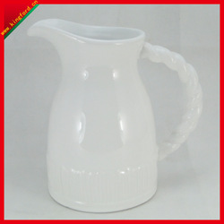 Wholesale White Embossed ceramic vase Ceramic Pitcher