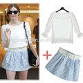 moda primavera verão 2014 elegante blusa e saia set